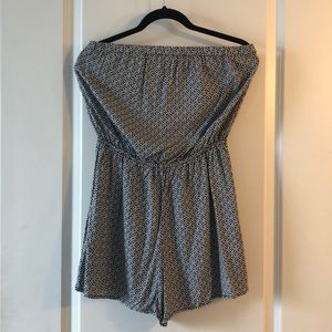 Patterned tube top romper